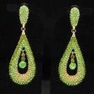Trendy Drop Green Dangle Pierced Earring W/ Rhinestone Crystals