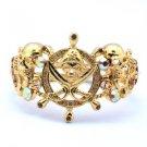 Vintage Style Swarovski Crystals Brown Pirate Skeleton Skull Bracelet Bangle