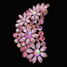 "Gold Tone Flower Brooch Broach Pin 2.9"" W/ Pink Rhinestone Crystals OFA2078"