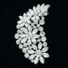 """Wedding Chic Clear Flower Brooch Broach Pin 2.9"""" W/ Rhinestone Crystals OFA2078"""