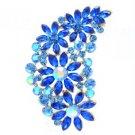 """Gold Tone Flower Brooch Broach Pin 2.9"""" W/ Blue Rhinestone Crystals OFA2078"""