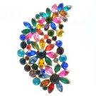 """Gold Tone Multicolor Flower Brooch Broach Pin 2.9"""" W/ Rhinestone Crystal OFA2078"""