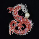 "Perky Faux Pearl Big Animal Dragon Brooch Pin 3.5"" Red Rhinestone Crystals"