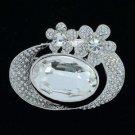 """Wedding Ellipse Clear Floral Flower Brooch Pin 2.0"""" W/ Rhinestone Crystals 6052"""