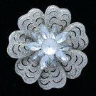 """Wedding Clear Floral Flower Brooch Broach Pin 2.7"""" W/ Rhinestone Crystals 6028"""