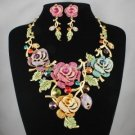 Swarovski Crystals Deluxe Multicolor Bud Rose Flower Necklace Earring Set 2796