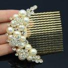 Wedding Bridal Imitate Pearl Flower Hair Comb w/ Clear Swarovski Crystal 552102