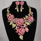 High Quality Fuchsia Swarovski Crystals Bud Rose Flower Necklace Earring Set