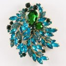 "Vintage Style Green Flower Brooch Broach Pin 4.1"" Rhinestone Crystals 4672"