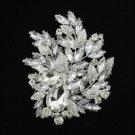 """Gorgeous Bridal 4.1"""" Clear Flower Brooch Broach Pin W/ Rhinestone Crystals 4672"""