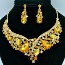 Brown Teardrop Flower Necklace Earring Set W/ Rhinestone Crystals 02570