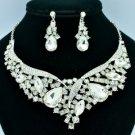 Clear Teardrop Flower Necklace Earring Set W/ Rhinestone Crystals 02570