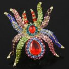 Swarovski Crystals Animal Multicolor Spider Cocktail Ring Adjustable Halloween