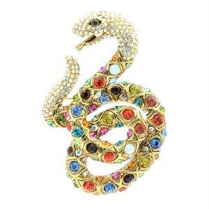 "Swarovski Crystal High Quality Multicolor Snake Brooch Broach Pin 3.1"" SBA4439-3"