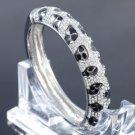 Trendy Black Leopard Grain Bracelet Bangle Cuff W/ Rhinestone Crystals 02727