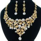 Gothic Gold Skull Star Necklace Earring Set W/ Swarovski Crystals 4 Halloween