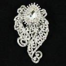 """Rhinestone Crystals Clear Flower Brooch Broach Pin 3.1"""" Wedding 4891"""