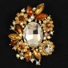 "Vintage Style Brown Flower Brooch Broach Pin 2.7"" W/ Rhinestone Crystals 4889"