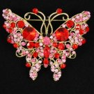 Vintage Style Red Butterfly Brooch Pin W/ Rhinestone Crystals 4895