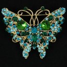Vintage Style Green Butterfly Brooch W/ Rhinestone Crystals 4895