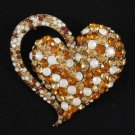 "Vintage Style Brown Heart Brooch Broach Pin 2.6"" W/ Rhinestone Crystals 4817"