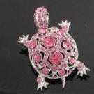 Rhinestone Crystals Animal Pink Turtle Tortoise Brooch Pin 3631