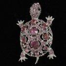 Rhinestone Crystals Purple Turtle Tortoise Brooch Broach Pin 3631