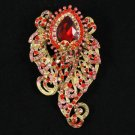 "Vintage Style Fashion Red Flower Brooch Pin 3.1"" W/ Rhinestone Crystals 4891"
