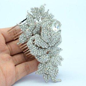 Clear Rhinestone Crystals Wedding Bridal Rose Flower Hair Comb 4512