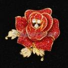 """Cute Swarovski Crystals Red Rose Flower Brooch Pin 2.1"""""""