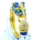 Blue Enamel Panther Leopard Bracelet Bangle Cuff W/ Clear Swarovski Crystals