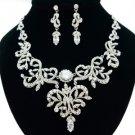 Wedding Clear Flower Necklace Earring Set W/ Swarovski Crystals JNA2628