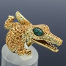 Vintage Style Crocodile Cocktail Ring Sz 8# W/ Topaz Swarovski Crystals SR2068-1