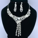 Rhinestone Crystals Clear Flower Necklace Earring Wedding Jewelry Sets 02269