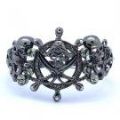 Swarovski Crystals Black Pirate Skeleton Skull Bracelet Bangle SKC1663-5