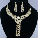 Gold Tone Clear Rhinestone Crystals Flower Necklace Earring Jewelry Sets 02269