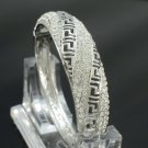 Silver Tone Fashion Bracelet Bangle Cuff W/ Clear Rhinestone Crystals