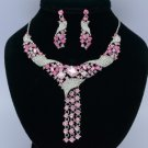 Dangle Rhinestone Crystals Pink Flower Necklace Earring Jewelry Sets 02269