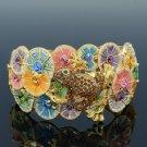 Swarovski Crystal High Quality Multicolor Lotus Leaf Froggy Frog Bracelet Bangle