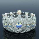 Swarovski Crystals High Quality Clear Crown Bracelet Bangle W/ Silver Tone