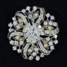 Bridal Floral Round Flower Brooch Pin W/ Clear A/B Rhinetsone Crystals 3804