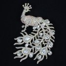 "Animal Peafowl Peacock Brooch Pin Drop 5.1"" W/ Clear A/B Rhinestone Crystals"