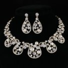 Pretty Pearl Flower Necklace Earring Wedding Jewelry Sets w/ Swarovski Crystals