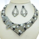 Gray Bow Bowknot Necklace Earring Set W/ Rhinestone Crystals 0972