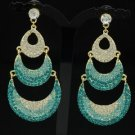 Rhinestone Crystals Vogue Blue Moon Dangle Pierced Earring 12328
