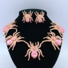 Gold Tone Pink 5 Tarantula Spider Necklace Earring Set w/ Swarovski Crystals