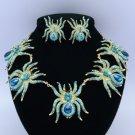 Gold Tone Animal 5 Tarantula Spider Necklace Earring Set w/ Swarovski Crystals