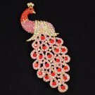 "God Tone Red Peafowl Peacock Brooch Broach Pin 4.9"" W/ Rhinestone Crystals 4871"