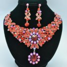 Fashion Big Red Flower Necklace Earring Set w/ Rhinestone Crystals 02555