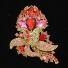 "Floral Flower Brooch Broach Pin 3.1"" w/ Red Rhinestone Crystals 8804226"